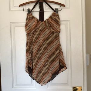 Heart Soul Halter Top Sz S Multi Color Sheer Back